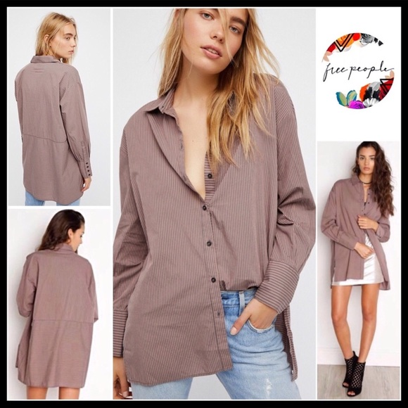 8996a3df Free People Tops | Button Down Oversized Tunic Shirt | Poshmark